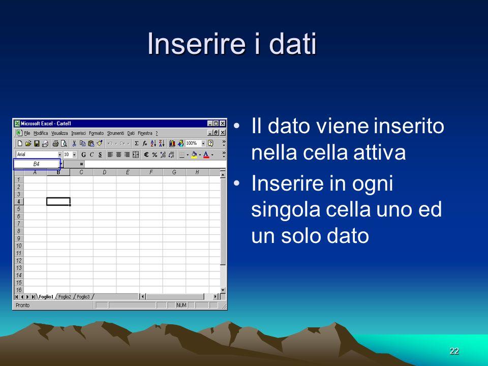 22 Inserire i dati Il dato viene inserito nella cella attiva Inserire in ogni singola cella uno ed un solo dato