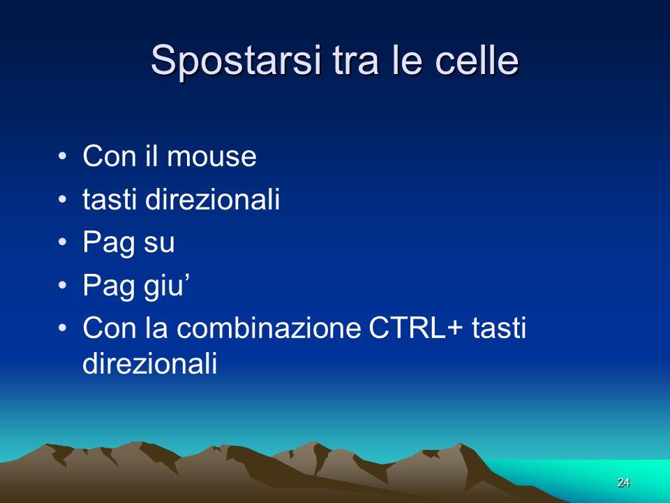 24 Spostarsi tra le celle Con il mouse tasti direzionali Pag su Pag giu Con la combinazione CTRL+ tasti direzionali