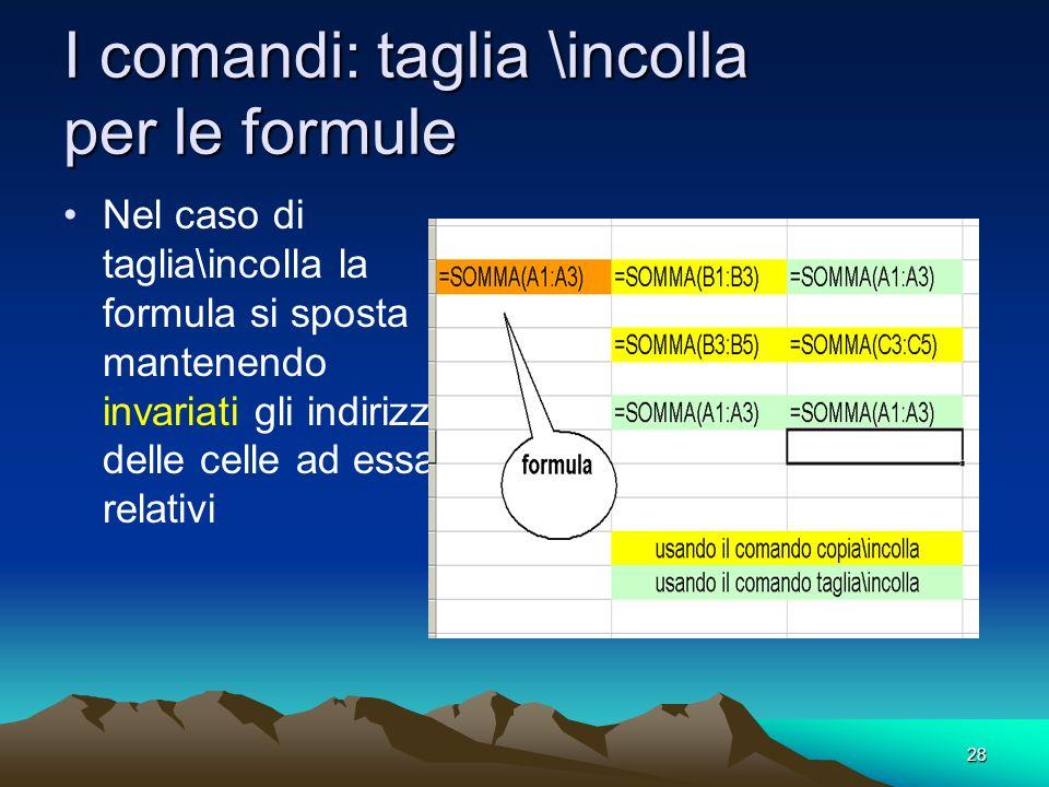 28 I comandi: taglia \incolla per le formule Nel caso di taglia\incolla la formula si sposta mantenendo invariati gli indirizzi delle celle ad essa re
