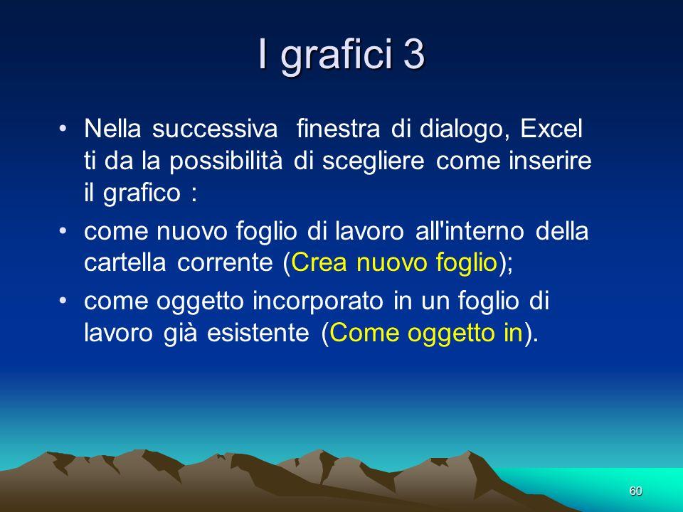 60 I grafici 3 Nella successiva finestra di dialogo, Excel ti da la possibilità di scegliere come inserire il grafico : come nuovo foglio di lavoro al