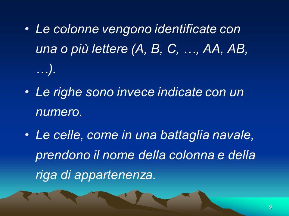 9 Le colonne vengono identificate con una o più lettere (A, B, C, …, AA, AB, …). Le righe sono invece indicate con un numero. Le celle, come in una ba