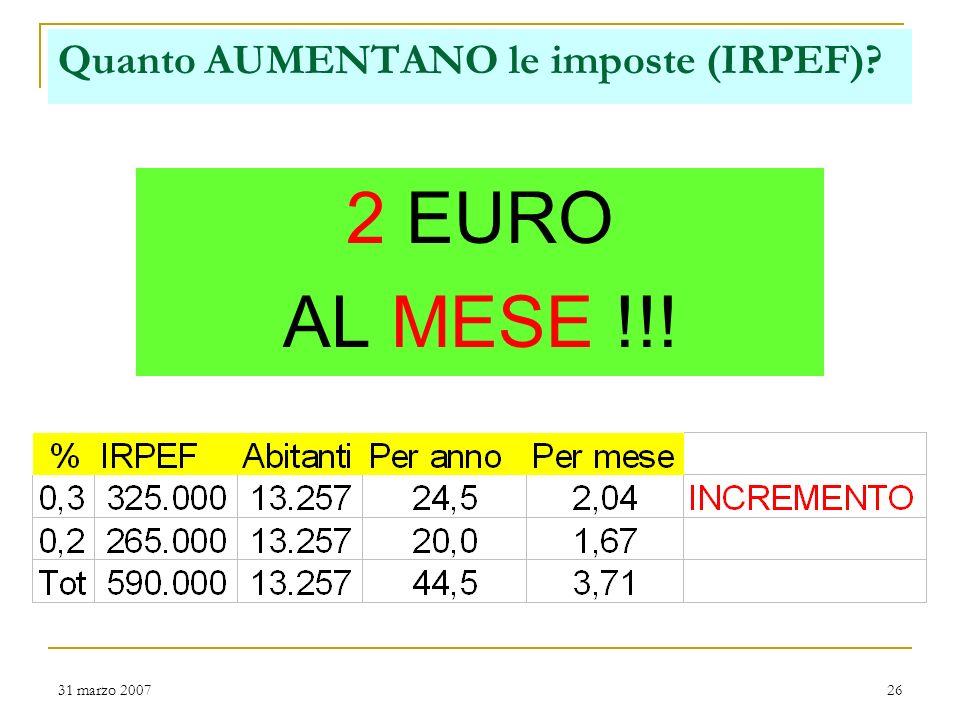 31 marzo 200725 IRPEF per i cittadini Finanziamento servizi e progettualità nelle attività correnti