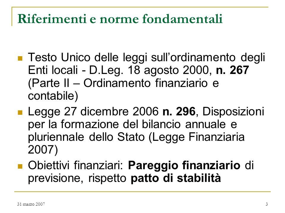 31 marzo 20072 Valenza dei bilanci di previsione Per lAmministrazione Comunale: Concretizzazione della propria politica e delle specifiche linee progr