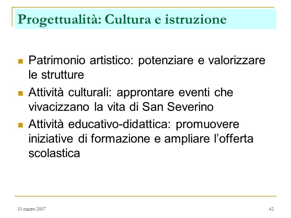 31 marzo 200741 Progettualità: Servizi alla persona Presentazione Assessore Giorgetti