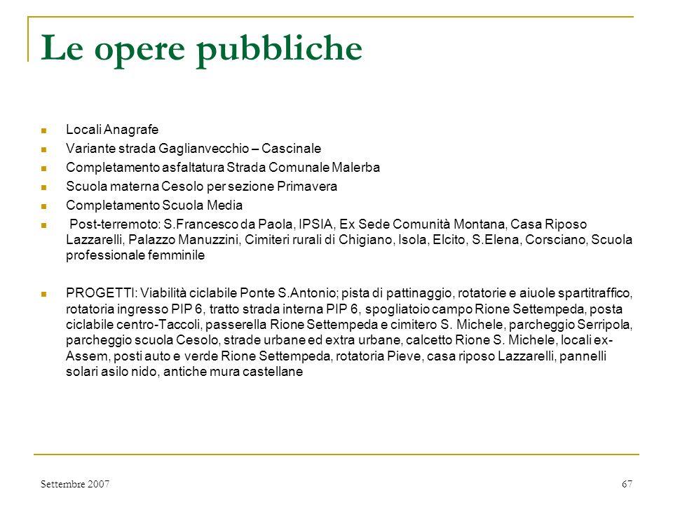 Le opere pubbliche Via Campo Fiera Teatro Feronia (acquisizione CPI) Opere di completamento Santuario del Glorioso Cimiteri S. Michele, Serripola, Sti