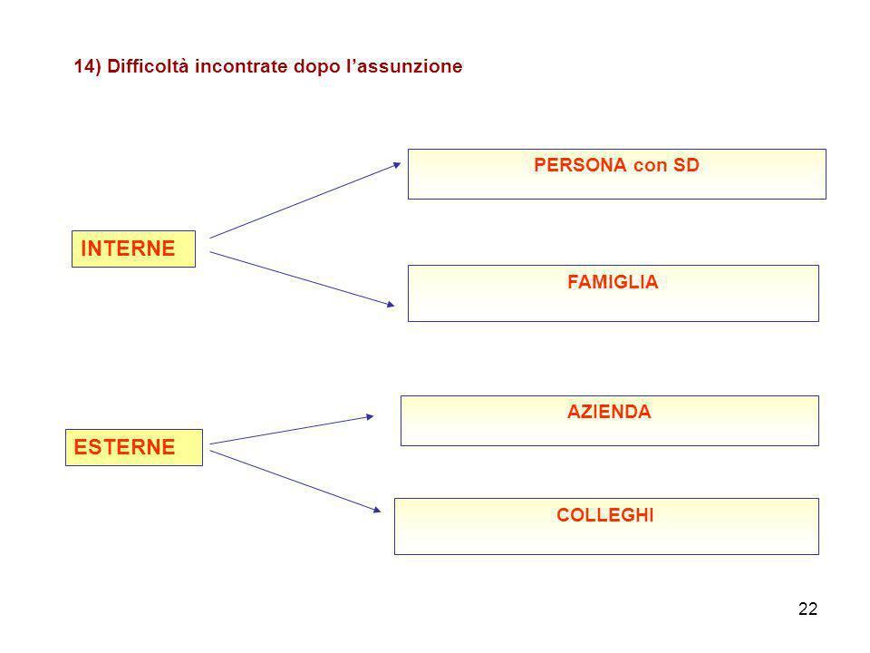 22 14) Difficoltà incontrate dopo lassunzione INTERNE PERSONA con SD FAMIGLIA ESTERNE AZIENDA COLLEGHI