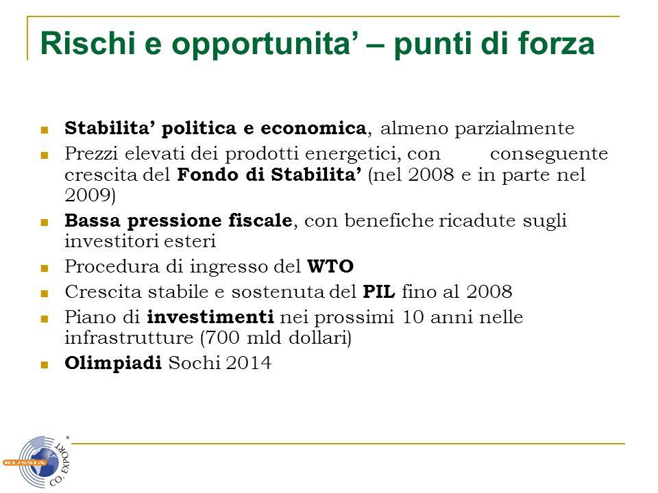 Rischi e opportunita – punti di forza Stabilita politica e economica, almeno parzialmente Prezzi elevati dei prodotti energetici, con conseguente cres