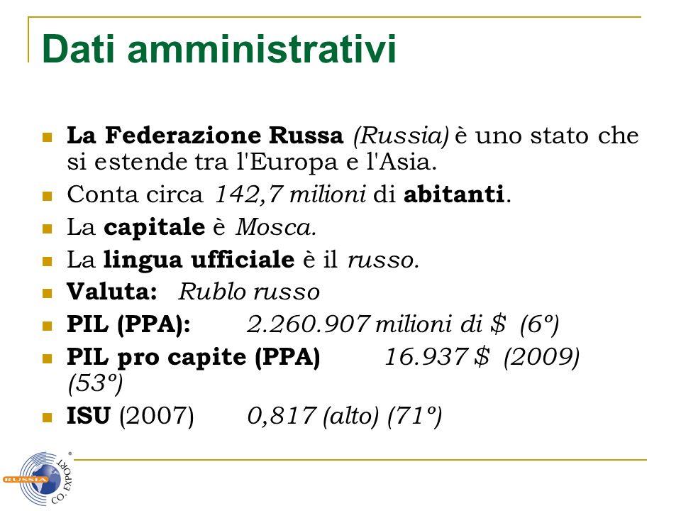 Dati amministrativi La Federazione Russa (Russia) è uno stato che si estende tra l'Europa e l'Asia. Conta circa 142,7 milioni di abitanti. La capitale