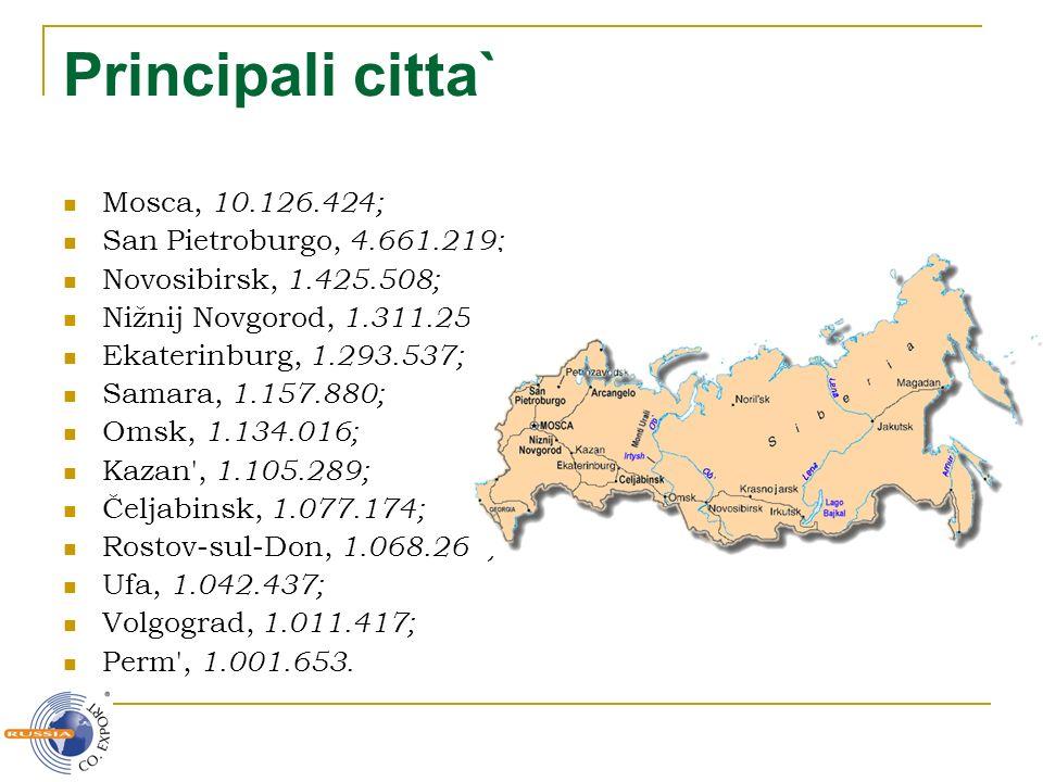 Principali citta` Mosca, 10.126.424; San Pietroburgo, 4.661.219; Novosibirsk, 1.425.508; Nižnij Novgorod, 1.311.252; Ekaterinburg, 1.293.537; Samara,