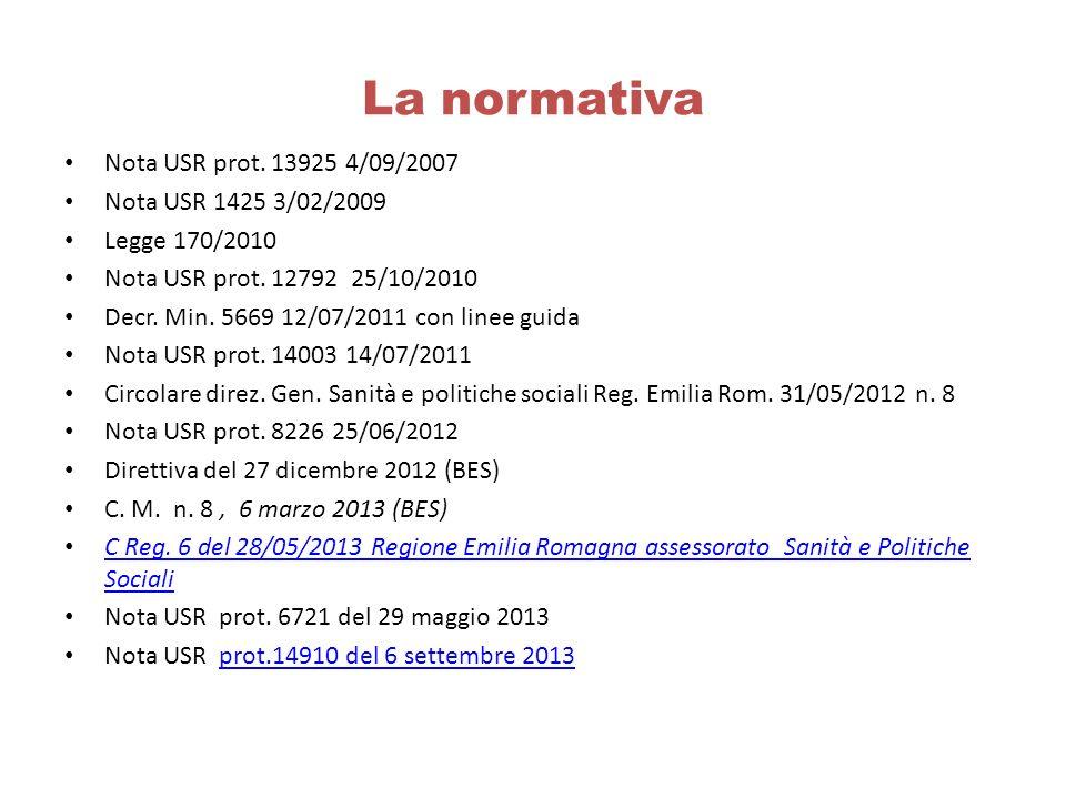 La normativa Nota USR prot. 13925 4/09/2007 Nota USR 1425 3/02/2009 Legge 170/2010 Nota USR prot. 12792 25/10/2010 Decr. Min. 5669 12/07/2011 con line