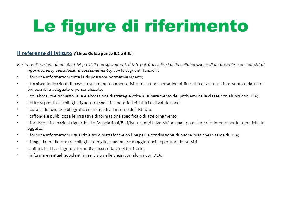 Le figure di riferimento Il referente di Istituto ( Linee Guida punto 6.2 e 6.3. ) Per la realizzazione degli obiettivi previsti e programmati, il D.S