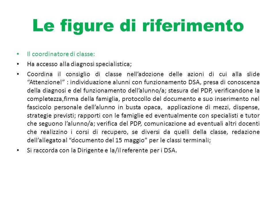 Le figure di riferimento Il coordinatore di classe: Ha accesso alla diagnosi specialistica; Coordina il consiglio di classe nelladozione delle azioni