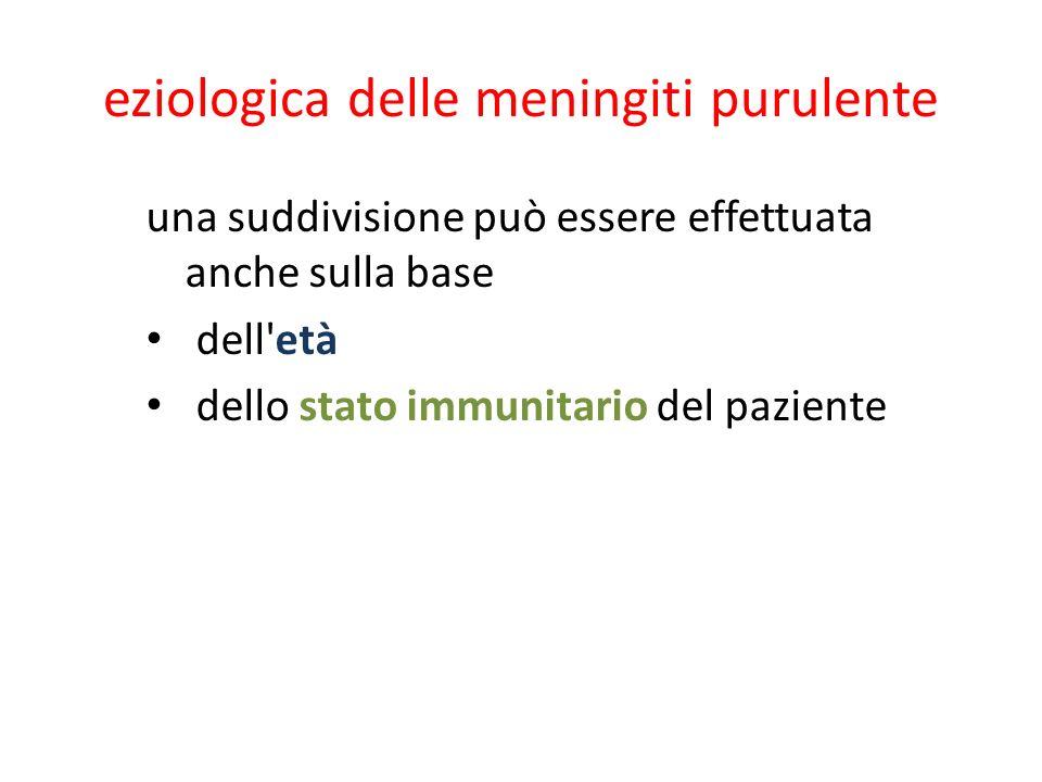eziologica delle meningiti purulente una suddivisione può essere effettuata anche sulla base dell'età dello stato immunitario del paziente
