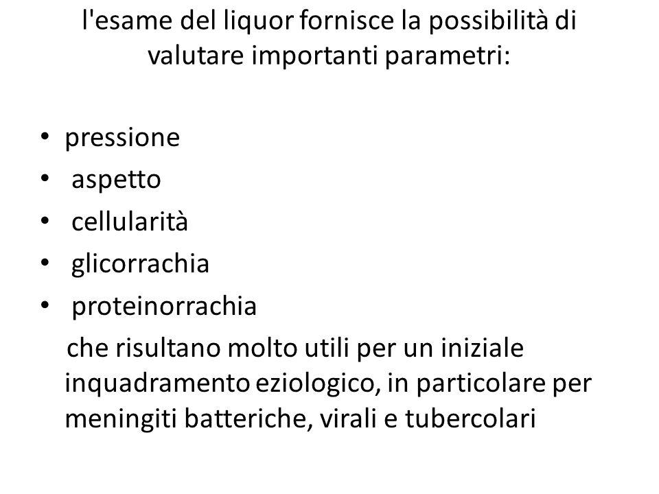 l'esame del liquor fornisce la possibilità di valutare importanti parametri: pressione aspetto cellularità glicorrachia proteinorrachia che risultano