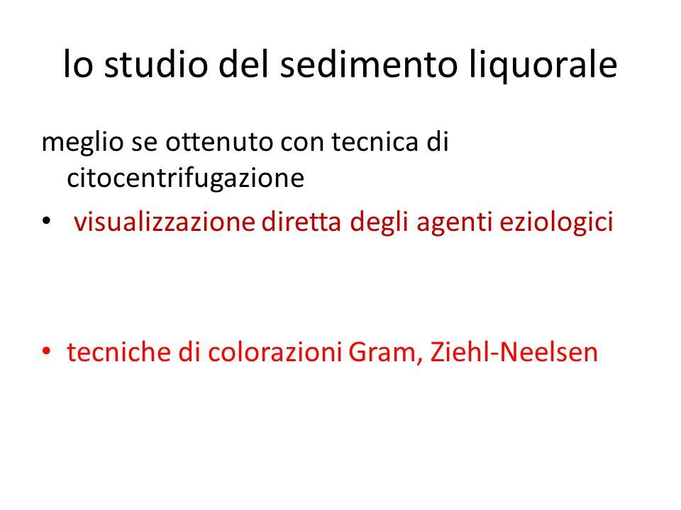 lo studio del sedimento liquorale meglio se ottenuto con tecnica di citocentrifugazione visualizzazione diretta degli agenti eziologici tecniche di co