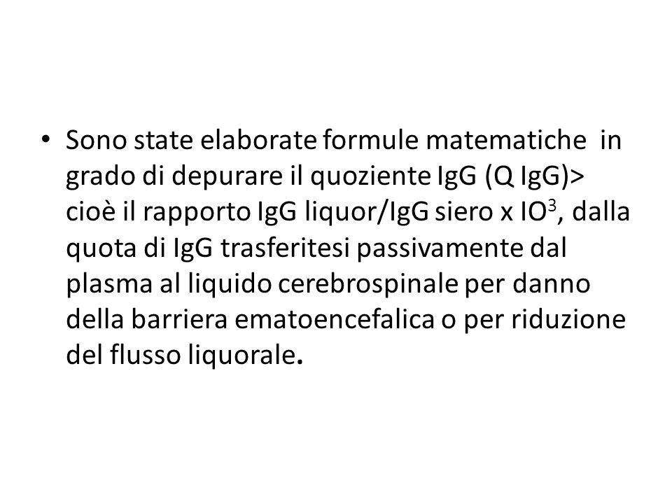 Sono state elaborate formule matematiche in grado di depurare il quoziente IgG (Q IgG)> cioè il rapporto IgG liquor/IgG siero x IO 3, dalla quota di I