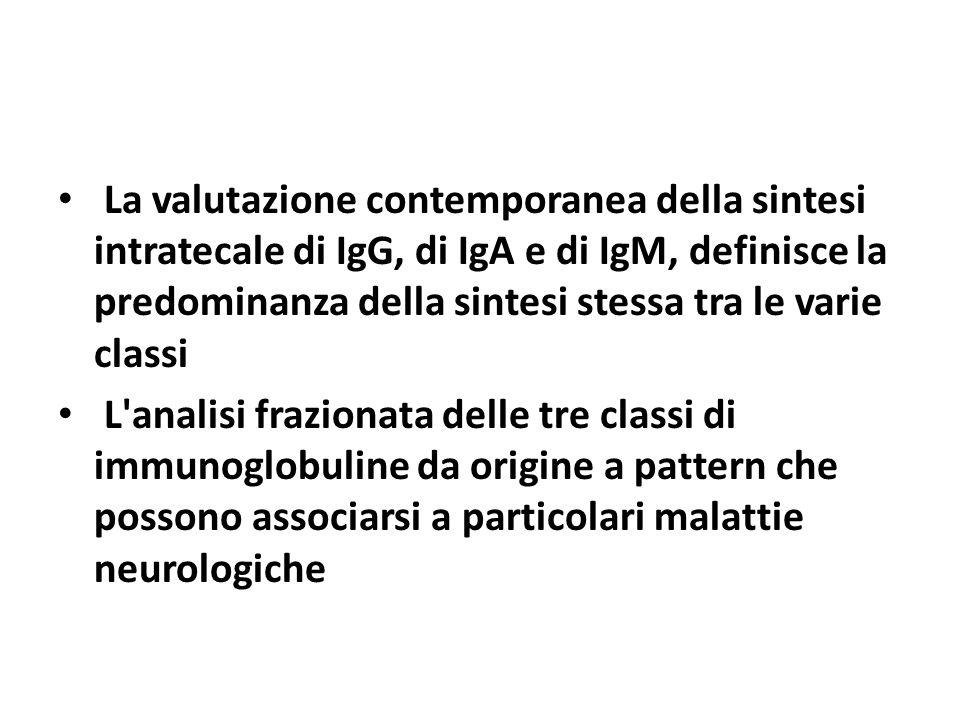 La valutazione contemporanea della sintesi intratecale di IgG, di IgA e di IgM, definisce la predominanza della sintesi stessa tra le varie classi L'a