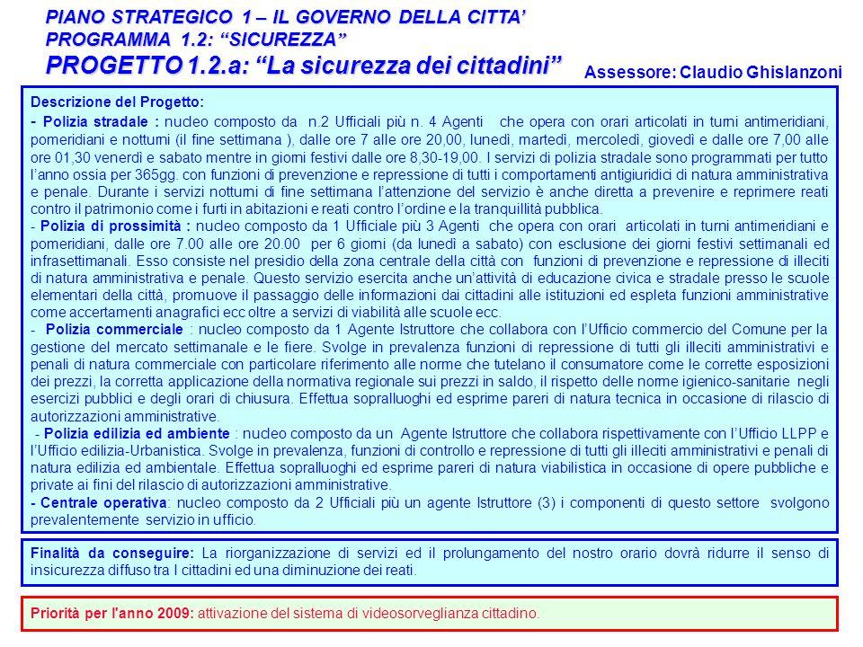 11 PIANO STRATEGICO 1 – IL GOVERNO DELLA CITTA PROGRAMMA 1.2: SICUREZZA PROGRAMMA 1.2: SICUREZZA PROGETTO 1.2.a: La sicurezza dei cittadini Responsabi