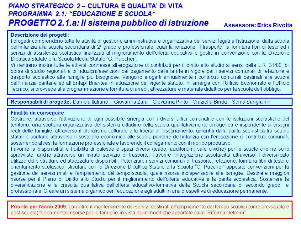 21 PIANO STRATEGICO 2 – CULTURA E QUALITA DI VITA PROGRAMMA 2.1: EDUCAZIONE E SCUOLA PROGRAMMA 2.1: EDUCAZIONE E SCUOLA PROGETTO 2.1.a: Il sistema pub