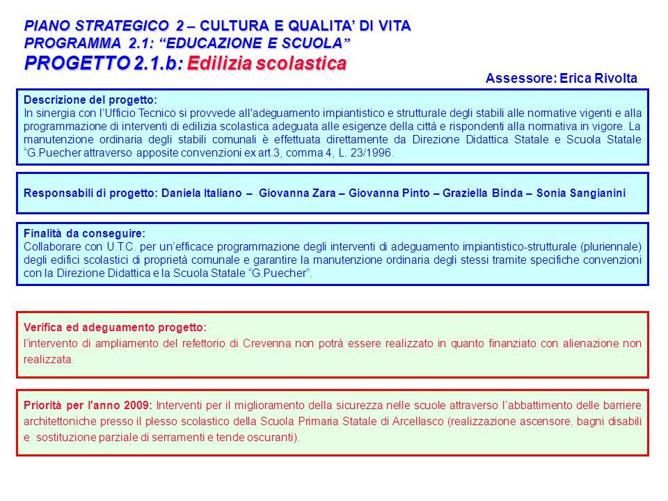 22 PIANO STRATEGICO 2 – CULTURA E QUALITA DI VITA PROGRAMMA 2.1: EDUCAZIONE E SCUOLA PROGRAMMA 2.1: EDUCAZIONE E SCUOLA PROGETTO 2.1.b: Edilizia scola