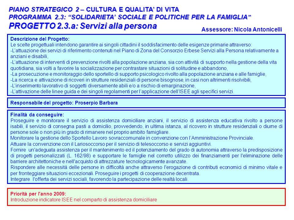 25 Descrizione del Progetto: Le scelte progettuali intendono garantire ai singoli cittadini il soddisfacimento delle esigenze primarie attraverso: -La