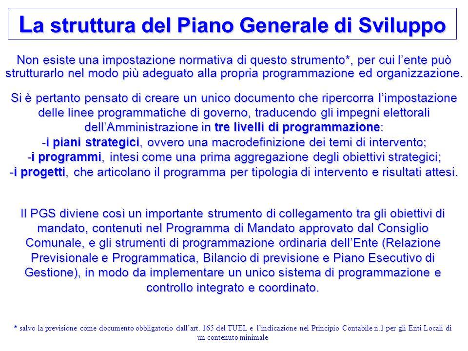 3 L a struttura del Piano Generale di Sviluppo Non esiste una impostazione normativa di questo strumento*, per cui lente può strutturarlo nel modo più