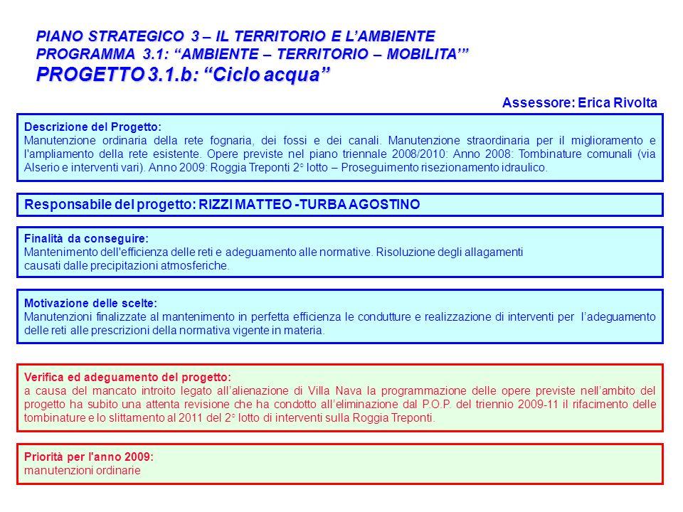 30 PIANO STRATEGICO 3 – IL TERRITORIO E LAMBIENTE PROGRAMMA 3.1: AMBIENTE – TERRITORIO – MOBILITA PROGETTO 3.1.b: Ciclo acqua Responsabile del progett