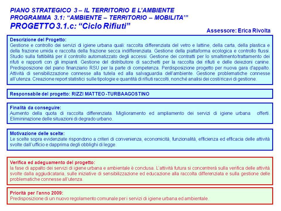 31 PIANO STRATEGICO 3 – IL TERRITORIO E LAMBIENTE PROGRAMMA 3.1: AMBIENTE – TERRITORIO – MOBILITA PROGETTO 3.1.c: Ciclo Rifiuti Descrizione del Proget