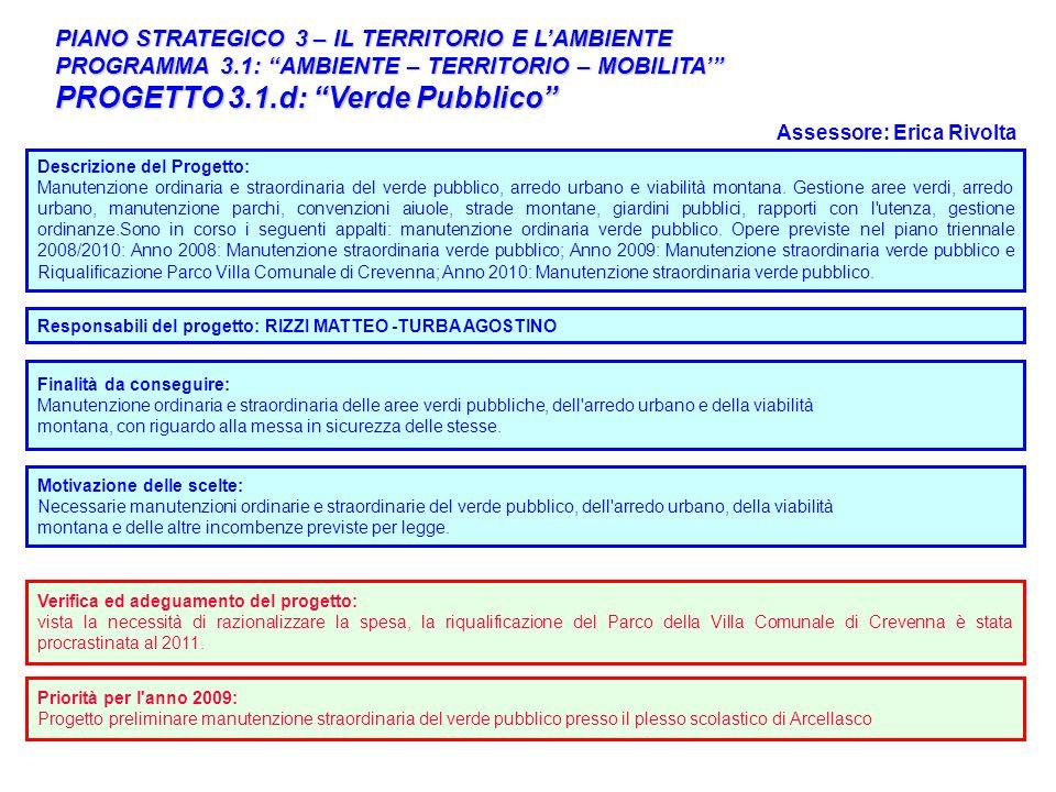 32 PIANO STRATEGICO 3 – IL TERRITORIO E LAMBIENTE PROGRAMMA 3.1: AMBIENTE – TERRITORIO – MOBILITA PROGETTO 3.1.d: Verde Pubblico Descrizione del Proge