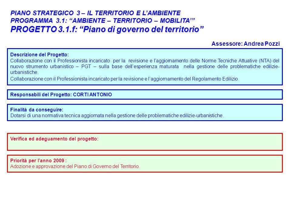 34 PIANO STRATEGICO 3 – IL TERRITORIO E LAMBIENTE PROGRAMMA 3.1: AMBIENTE – TERRITORIO – MOBILITA PROGETTO 3.1.f: Piano di governo del territorio Desc