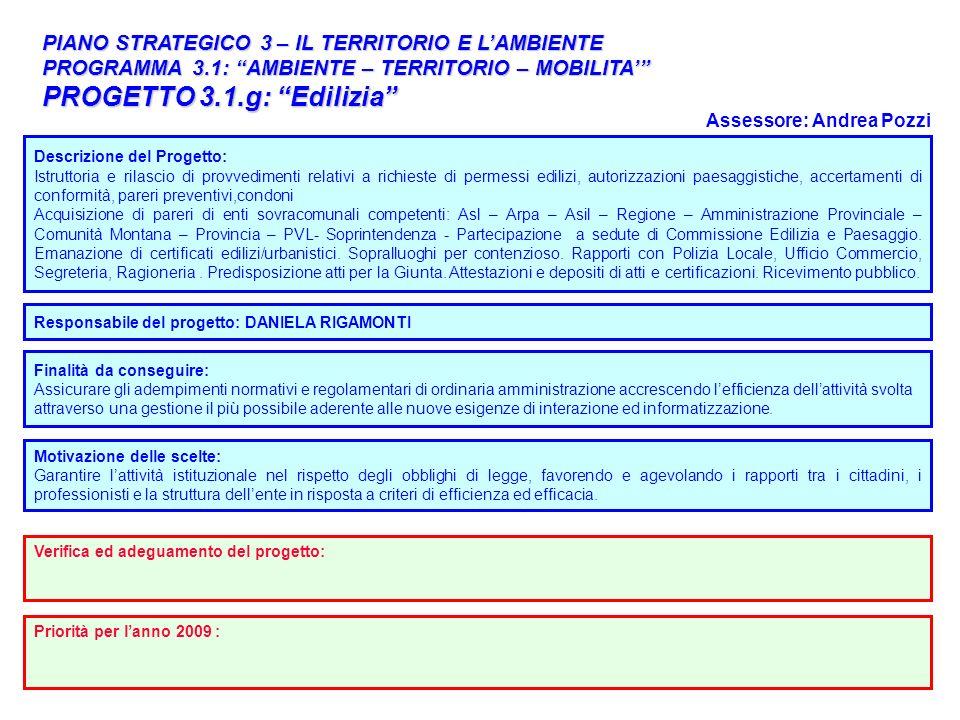 35 PIANO STRATEGICO 3 – IL TERRITORIO E LAMBIENTE PROGRAMMA 3.1: AMBIENTE – TERRITORIO – MOBILITA PROGETTO 3.1.g: Edilizia Responsabile del progetto: