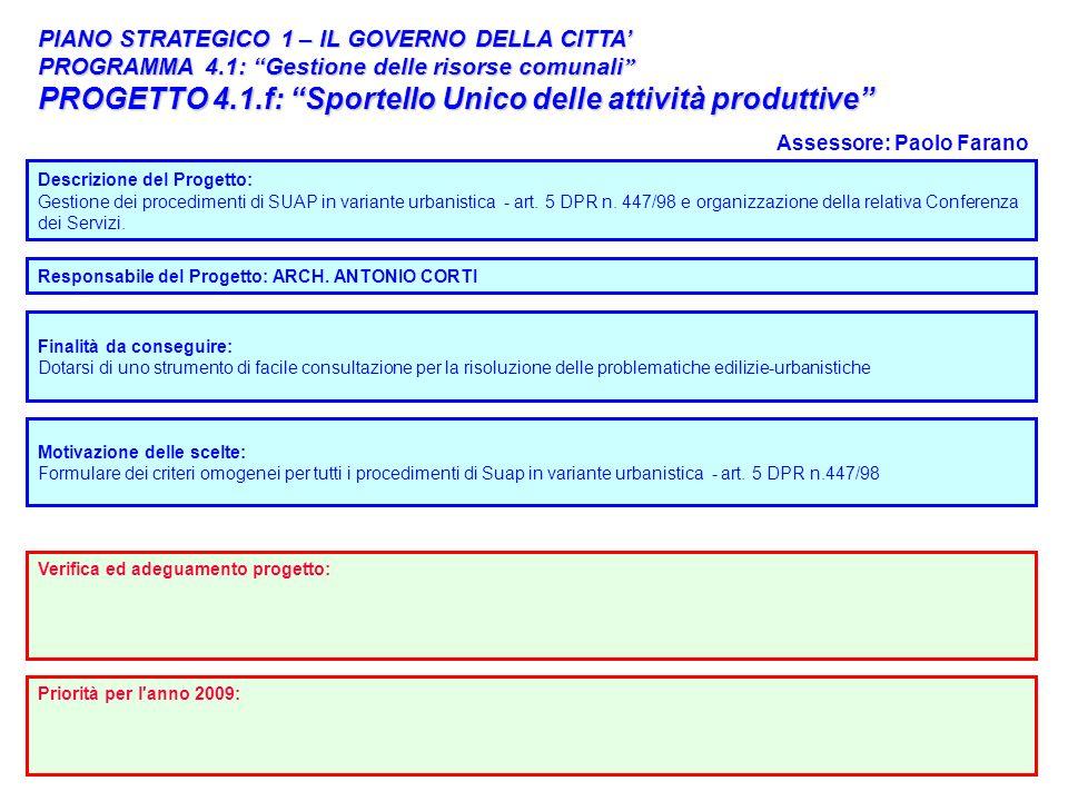 49 PIANO STRATEGICO 1 – IL GOVERNO DELLA CITTA PROGRAMMA 4.1: Gestione delle risorse comunali PROGRAMMA 4.1: Gestione delle risorse comunali PROGETTO