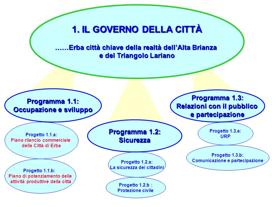7 Progetto 1.1.a: Piano rilancio commerciale della Città di Erba Progetto 1.1.b: Piano di potenziamento delle attività produttive della città Progetto