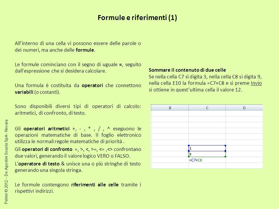 Formule e riferimenti (1) Allinterno di una cella vi possono essere delle parole o dei numeri, ma anche delle formule.