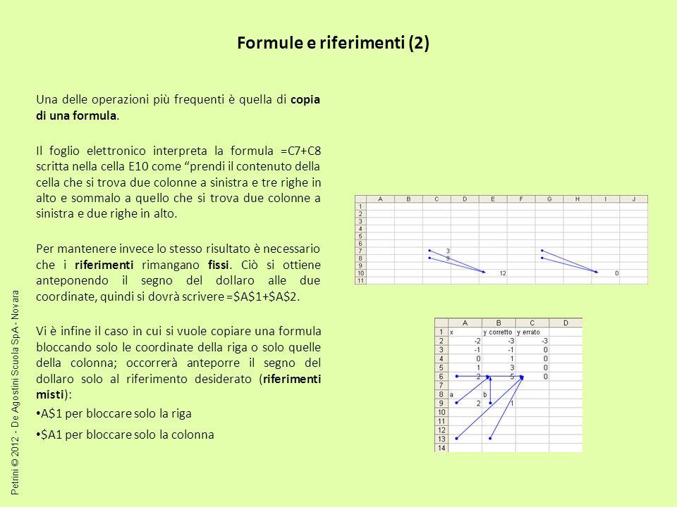 Formule e riferimenti (2) Una delle operazioni più frequenti è quella di copia di una formula. Il foglio elettronico interpreta la formula =C7+C8 scri