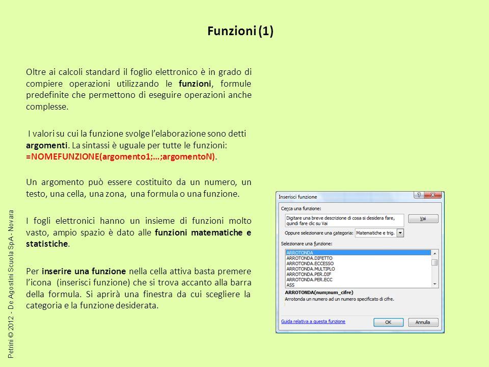 Funzioni (1) Oltre ai calcoli standard il foglio elettronico è in grado di compiere operazioni utilizzando le funzioni, formule predefinite che permet