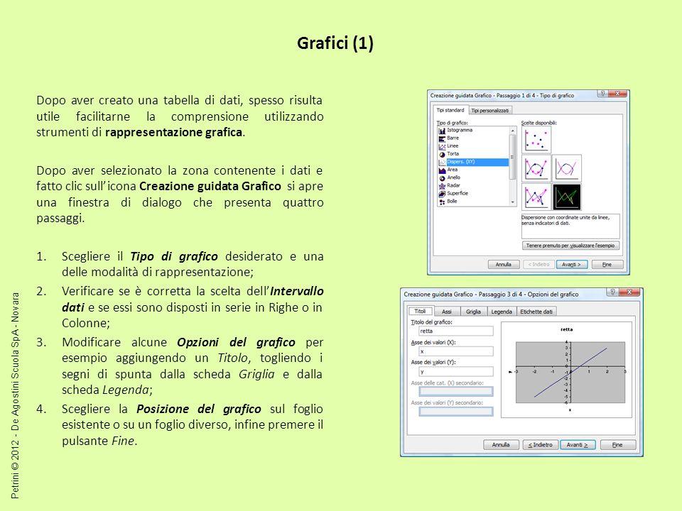 Grafici (1) Dopo aver creato una tabella di dati, spesso risulta utile facilitarne la comprensione utilizzando strumenti di rappresentazione grafica.