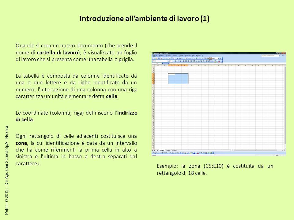Introduzione allambiente di lavoro (1) Quando si crea un nuovo documento (che prende il nome di cartella di lavoro), è visualizzato un foglio di lavoro che si presenta come una tabella o griglia.