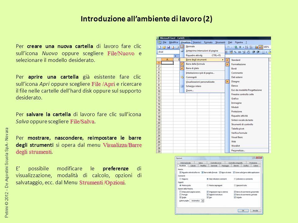 Introduzione allambiente di lavoro (2) File/Nuovo Per creare una nuova cartella di lavoro fare clic sullicona Nuovo oppure scegliere File/Nuovo e selezionare il modello desiderato.