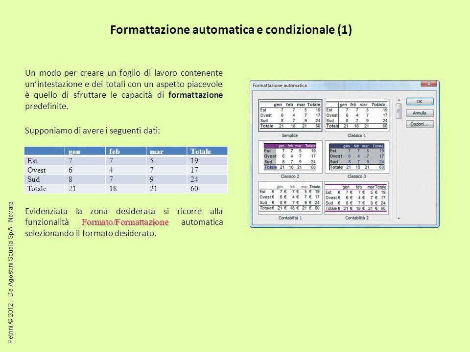 Formattazione automatica e condizionale (2) In alcuni casi può essere utile evidenziare i valori delle celle in cui si verifica una certa condizione.