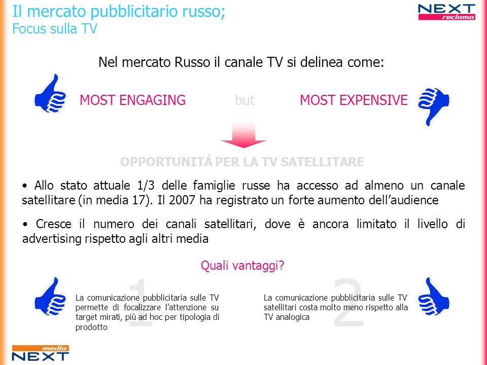 21 Il mercato pubblicitario russo; Focus sulla TV Nel mercato Russo il canale TV si delinea come: MOST ENGAGINGMOST EXPENSIVEbut OPPORTUNITÁ PER LA TV