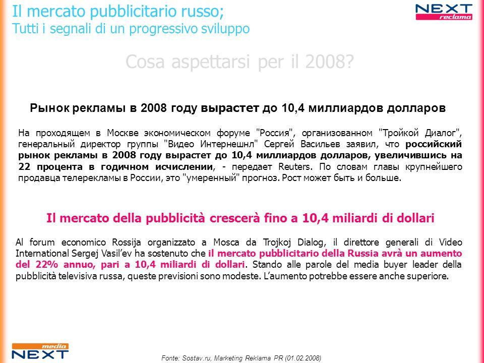 Crescita del segmento Outdoor (in RUBLI) 2006 H12007 H12006H1 vs 2007H1 16.500.000.00020.800.000.00026,0% 10,8% Città con popolazione tra i 500.000 e i 1 mio.