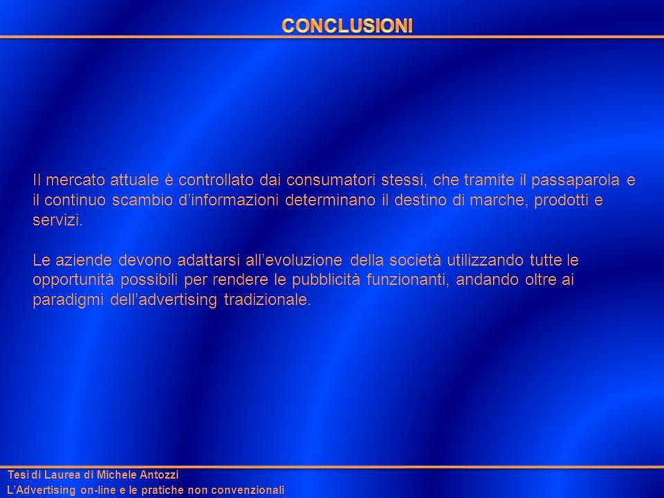 Tesi di Laurea di Michele Antozzi LAdvertising on-line e le pratiche non convenzionali Il mercato attuale è controllato dai consumatori stessi, che tr