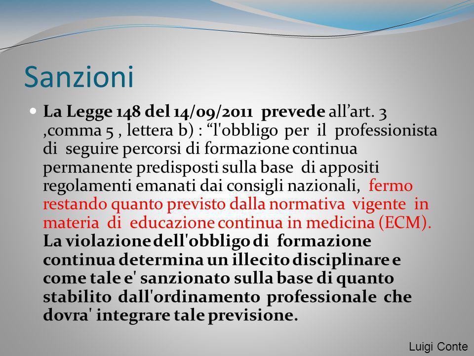 Sanzioni La Legge 148 del 14/09/2011 prevede allart. 3,comma 5, lettera b) : l'obbligo per il professionista di seguire percorsi di formazione continu