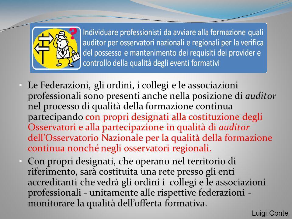 Le Federazioni, gli ordini, i collegi e le associazioni professionali sono presenti anche nella posizione di auditor nel processo di qualità della for