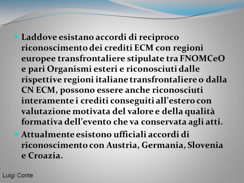 Laddove esistano accordi di reciproco riconoscimento dei crediti ECM con regioni europee transfrontaliere stipulate tra FNOMCeO e pari Organismi ester