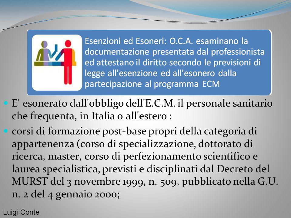 E' esonerato dall'obbligo dell'E.C.M. il personale sanitario che frequenta, in Italia o all'estero : corsi di formazione post-base propri della catego