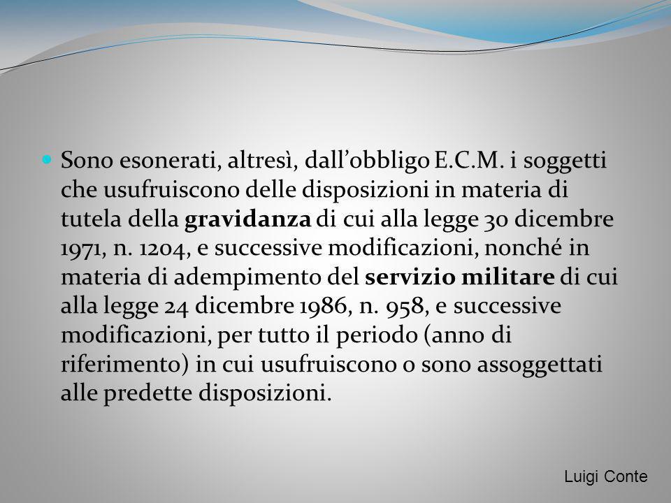 Sono esonerati, altresì, dallobbligo E.C.M. i soggetti che usufruiscono delle disposizioni in materia di tutela della gravidanza di cui alla legge 30