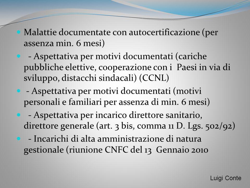 Malattie documentate con autocertificazione (per assenza min. 6 mesi) - Aspettativa per motivi documentati (cariche pubbliche elettive, cooperazione c