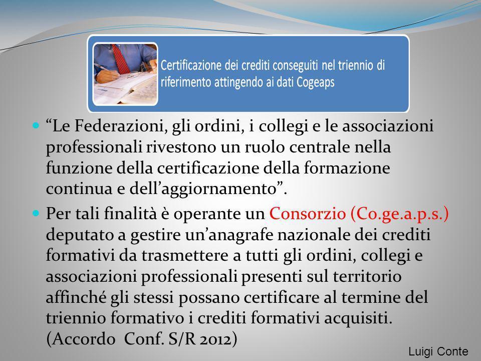 Le Federazioni, gli ordini, i collegi e le associazioni professionali rivestono un ruolo centrale nella funzione della certificazione della formazione
